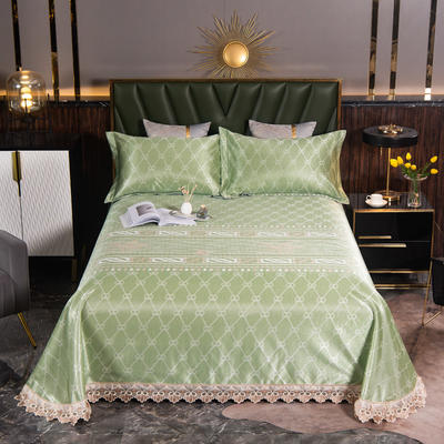 2021新款凉3°驱蚊刺绣花边床单席 245*250cm 哈尔斯特绿
