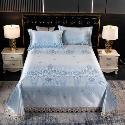 2021新款凉3°驱蚊刺绣花边床单席 245*250cm 青春年华蓝