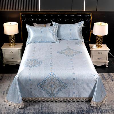 2021新款凉3°驱蚊刺绣花边床单席 245*250cm 炫彩蓝