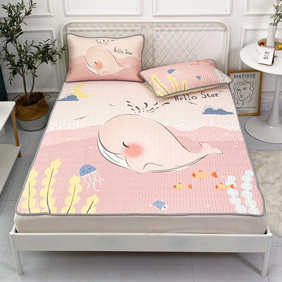 2021新款凉感丝卡通风乳胶凉席床垫款 1.8*2.0m 假日粉鲸