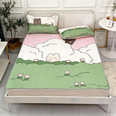 2021新款凉感丝卡通风乳胶凉席床垫款 1.8*2.0m 绿地小熊