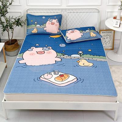 2021新款凉感丝卡通风乳胶凉席床垫款 1.8*2.0m 泡澡粉猪