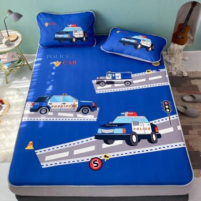 2021新款透感冰丝床笠三件套 120cmx200cm两件套 警车派对