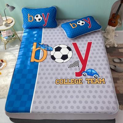 2021新款透感冰丝床笠三件套 120cmx200cm两件套 足球宝贝