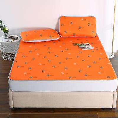 2021新款透感冰丝床笠三件套 120cmx200cm两件套 艾玛橙