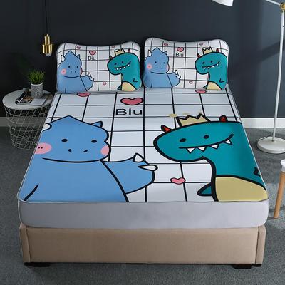2021新款透感冰丝床笠三件套 120cmx200cm两件套 爱心恐龙