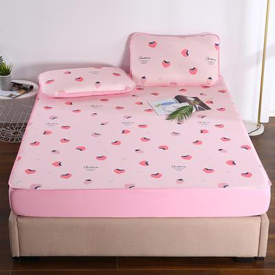 2021新款透感冰丝床笠三件套 120cmx200cm两件套 草莓乐园