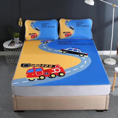 2021新款透感冰丝床笠三件套 120cmx200cm两件套 汽车派对