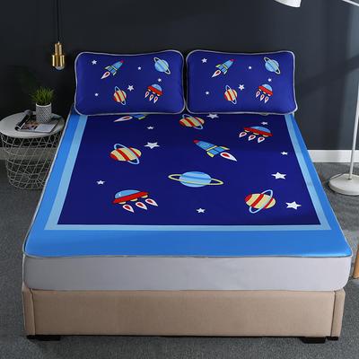 2021新款透感冰丝床笠三件套 120cmx200cm两件套 宇宙星空