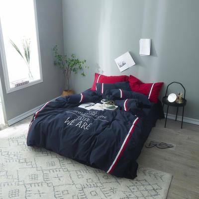 2019新款色织水洗全棉四件套-后来的我们 1.8m(6英尺)床 后来的我们-蓝