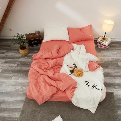 2019新款色织水洗棉全棉四件套-潘多拉 1.8m(6英尺)床 潘多拉-砖红