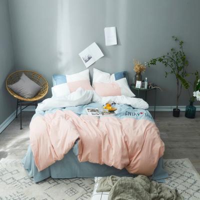 2019新款色织水洗棉四件套-享受生活 1.2m(4英尺)床 享受生活-玉
