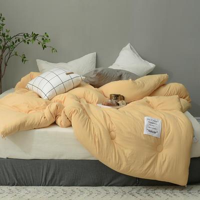 时光水洗棉冬被被芯--时间 150*200cm(3.5斤春秋被) 时间-杏黄
