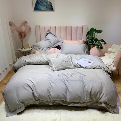 2019新款色纺五色四件套 小抱枕含芯 色纺浅灰
