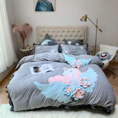 2019新款绒类产品四件套—宝宝绒 方枕60*60cm/对(不含芯) 天使灰色(宝宝绒)