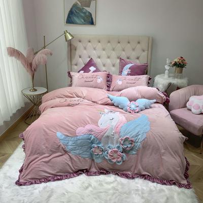 2019新款绒类产品四件套—宝宝绒 方枕60*60cm/对(不含芯) 天使烟粉色(宝宝绒)