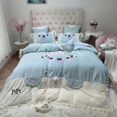 2019新款绒类产品四件套—宝宝绒 方枕60*60cm/对(不含芯) 柯基PP蓝色(宝宝绒)