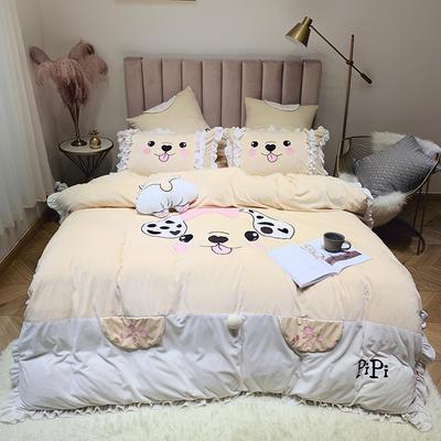 2019新款绒类产品四件套—宝宝绒 方枕60*60cm/对(不含芯) 柯基PP黄色(宝宝绒)