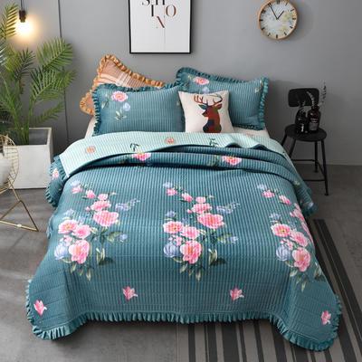 2020新款水晶绒床盖保暖棉夹绒三件套床盖 150cmx200cm 碧水佳人-绿