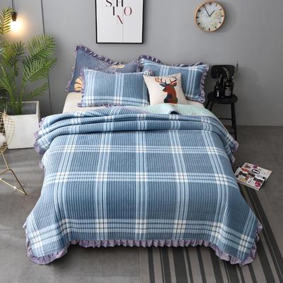2020新款水晶绒床盖保暖棉夹绒三件套床盖 150cmx200cm 布拉格-兰