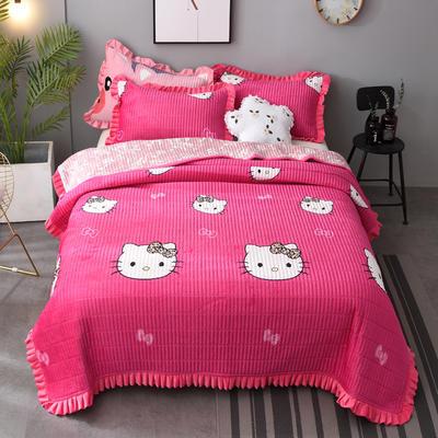 2020新款水晶绒床盖保暖棉夹绒三件套床盖 150cmx200cm 可爱猫