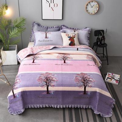 2020新款水晶绒床盖保暖棉夹绒三件套床盖 150cmx200cm 快乐小树