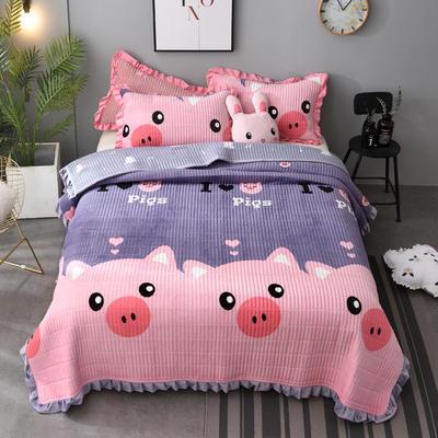 2020新款水晶绒床盖保暖棉夹绒三件套床盖 150cmx200cm 萌小猪