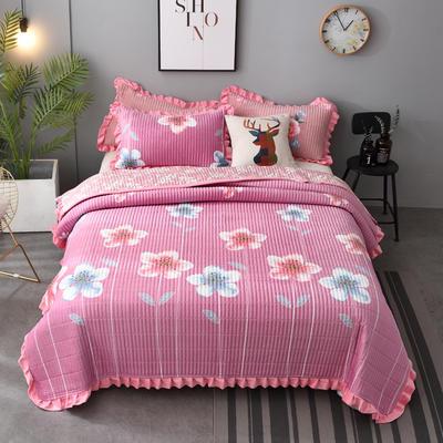 2020新款水晶绒床盖保暖棉夹绒三件套床盖 150cmx200cm 凝香