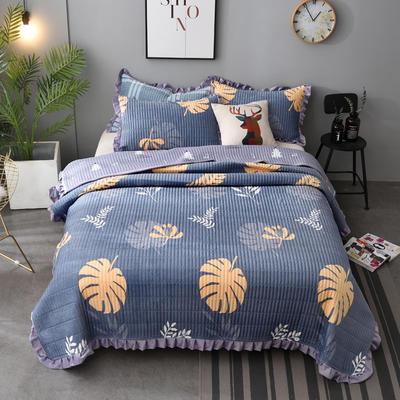 2020新款水晶绒床盖保暖棉夹绒三件套床盖 150cmx200cm 秋叶-蓝