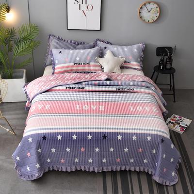 2020新款水晶绒床盖保暖棉夹绒三件套床盖 150cmx200cm 星空-紫