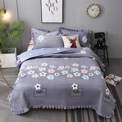2020新款水晶绒床盖保暖棉夹绒三件套床盖 150cmx200cm 绚丽-灰