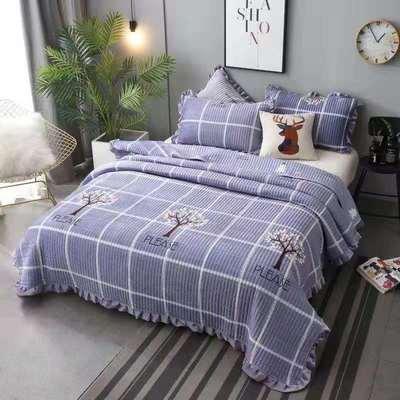 2020新款水晶绒床盖保暖棉夹绒三件套床盖 150cmx200cm 小树-蓝