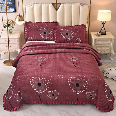 2020新款水晶绒床盖保暖棉夹绒三件套床盖 150cmx200cm 爱心花-酒红