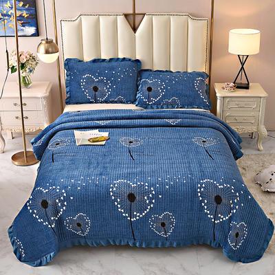 2020新款水晶绒床盖保暖棉夹绒三件套床盖 150cmx200cm 爱心花-蓝