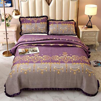 2020新款水晶绒床盖保暖棉夹绒三件套床盖 150cmx200cm 迪赛思