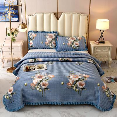2020新款水晶绒床盖保暖棉夹绒三件套床盖 150cmx200cm 花的季节