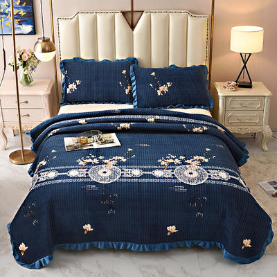 2020新款水晶绒床盖保暖棉夹绒三件套床盖 150cmx200cm 花舞幻影