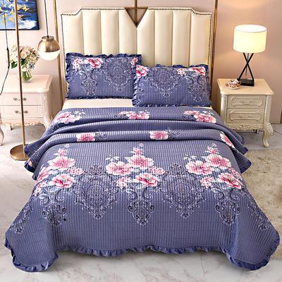 2020新款水晶绒床盖保暖棉夹绒三件套床盖 150cmx200cm 花音