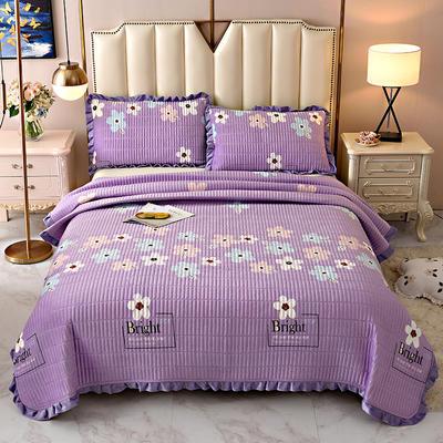 2020新款水晶绒床盖保暖棉夹绒三件套床盖 150cmx200cm 浪花朵朵-蓝
