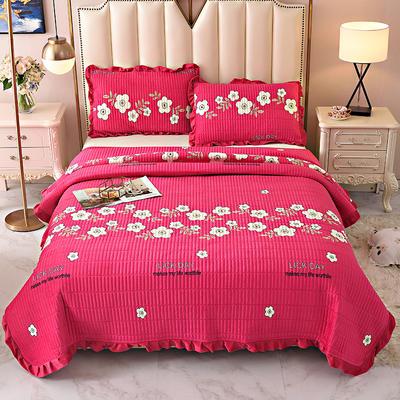 2020新款水晶绒床盖保暖棉夹绒三件套床盖 150cmx200cm 浪花朵朵-玫红