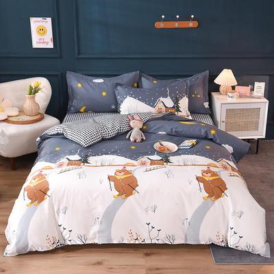 2021新款128x68-40s精梳棉系列四件套 被套1.6+床单2.3+枕套2只(四件套) 滑雪熊-灰