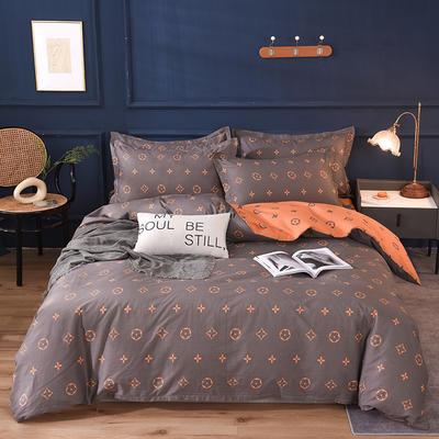 2021新款128x68-40s精梳棉系列四件套 被套1.6+床单2.3+枕套2只(四件套) 香榭丽舍-灰