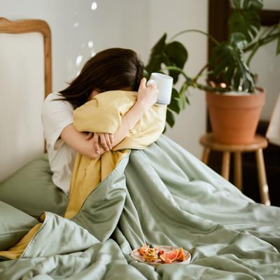 2020新款-60天丝纯色夏被四件套 床单款夏被四件套200X230cm 海藻绿&黄