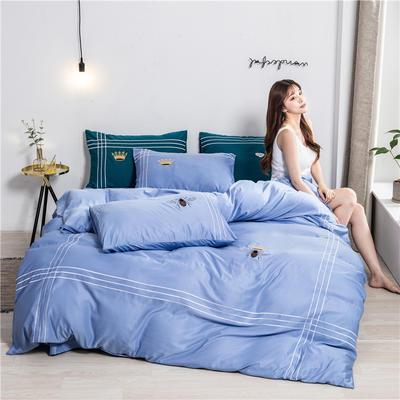 2020新款纯色水洗天丝刺绣轻奢四件套 1.5m床单款 蒂斯-蓝