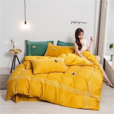 2020新款纯色水洗天丝刺绣轻奢四件套 1.5m床单款 蒂斯-亮黄