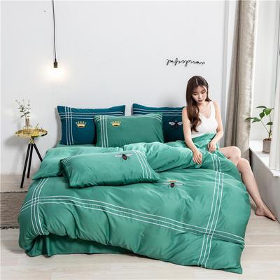2020新款纯色水洗天丝刺绣轻奢四件套 1.5m床单款 蒂斯-绿