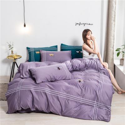 2020新款纯色水洗天丝刺绣轻奢四件套 1.5m床单款 蒂斯-深紫