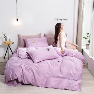 2020新款纯色水洗天丝刺绣轻奢四件套 1.5m床单款 蒂斯-紫