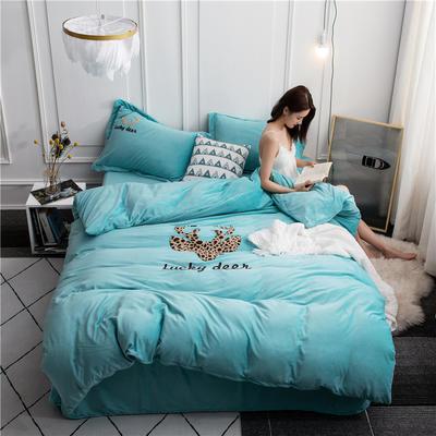 2019新款-爆款高克重水晶绒毛巾绣系列保暖四件套 1.5m床床单款四件套 一鹿有你-淡蓝