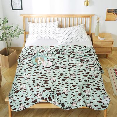 2020新款A类母婴级针织棉凉感夏被 150x200cm 斑点奶牛绿